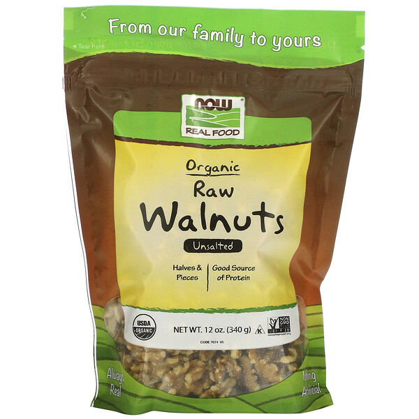 Real Food, Organic Raw Walnuts, Unsalted, 12 oz (340 g)