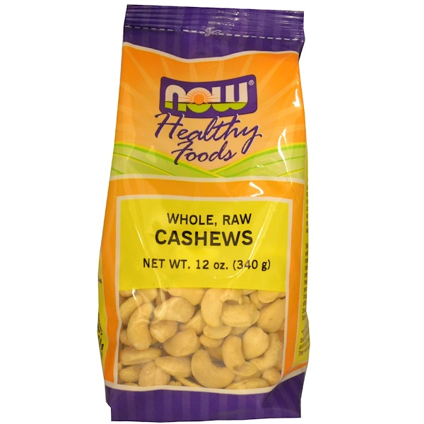 Now Foods, Healthy Foods, Cashews, Whole, Raw, 12 oz (340 g) (Discontinued Item)