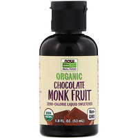 Now Foods, Real Food, Organic Monk Fruit, Liquid Sweetener, Chocolate, 1.8 fl oz (53 ml)