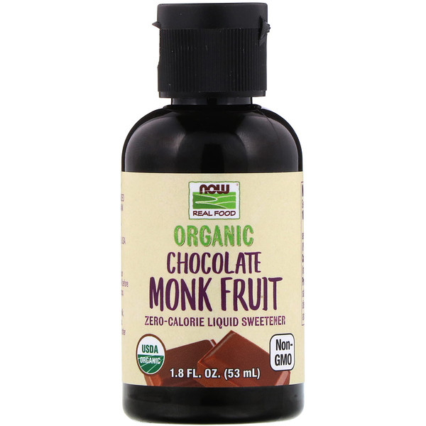 Real Food, Organic Monk Fruit, Liquid Sweetener, Chocolate, 1.8 fl oz (53 ml)