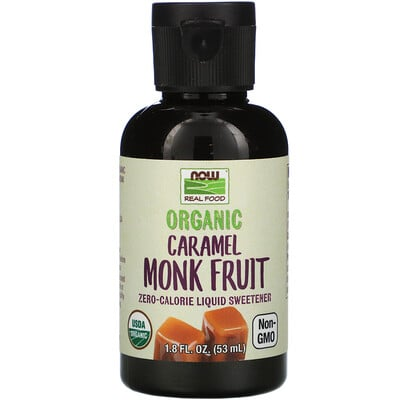 Now Foods Real Food, Organic Monk Fruit, Zero-Calorie Liquid Sweetener, Caramel, 1.8 fl oz (53 ml)