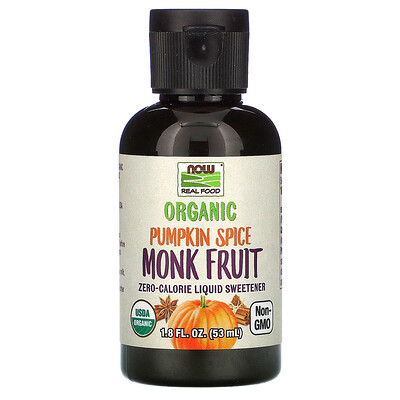 Now Foods Real Food, Organic Monk Fruit, Zero-Calorie Liquid Sweetener, Pumpkin Spice, 1.8 fl oz (53 ml)