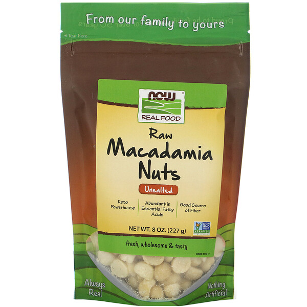 Now Foods, Real Food, Raw Macadamia Nuts, Unsalted, 8 oz (227 g)