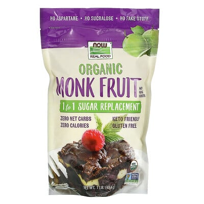 Now Foods Real Food, Organic Monk Fruit, 1-to-1 Sugar Replacement , 1 lb (454 g)