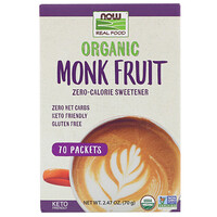 Now Foods, Real Food, Organic Monk Fruit Zero-Calorie Sweetener,  70 Packets, 2.47 oz (70 g)
