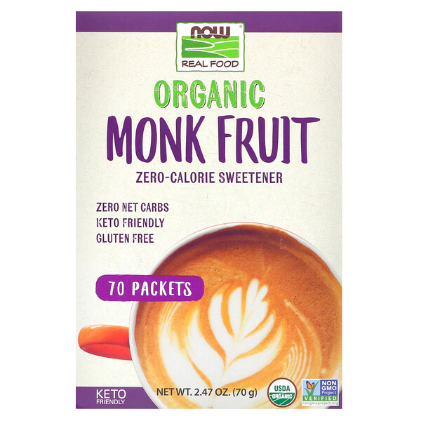 Real Food, Organic Monk Fruit Zero-Calorie Sweetener,  70 Packets, 2.47 oz (70 g)