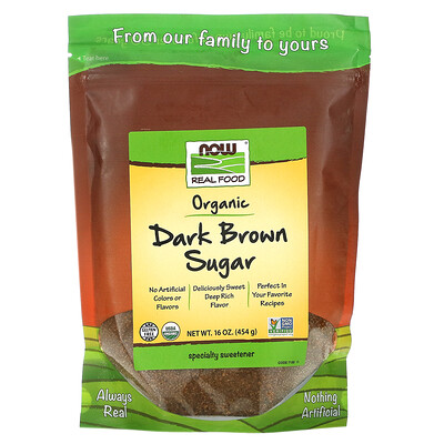Купить Now Foods Real Foods, органический коричневый сахар, 454г