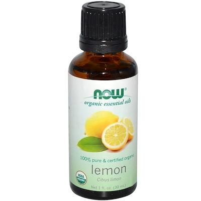 Органические эфирные масла, Лимон, 1 жидкая унция (30 мл)