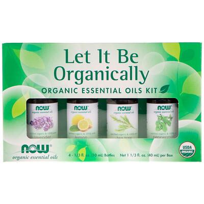 Now Foods Let It Be Organically, Organic Essential Oils Kit, 4 Bottles, 1/3 fl oz (10 ml) Each  - купить со скидкой