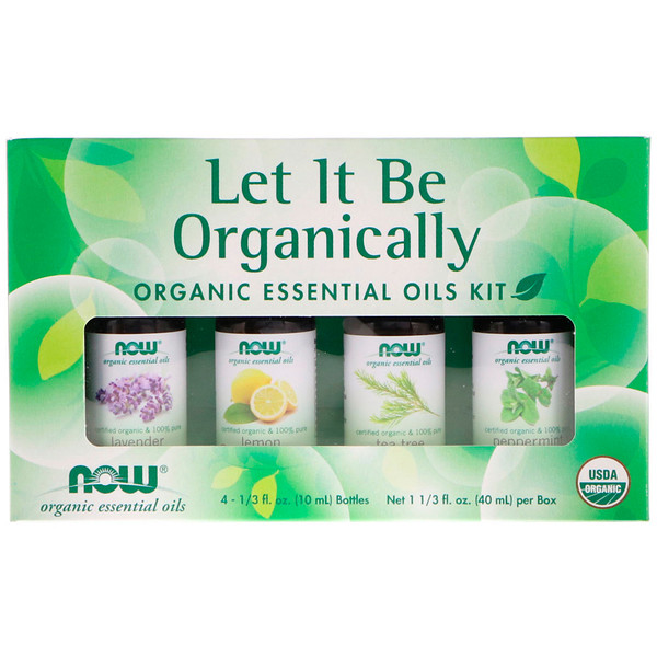 Let It Be Organically, Organic Essential Oils Kit, 4 Bottles, 1/3 fl oz (10 ml) Each