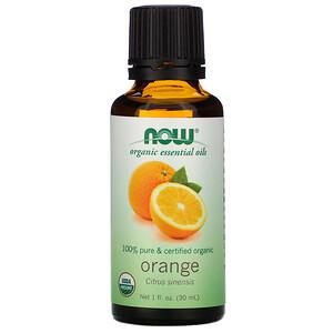 Now Foods, Organic Essential Oils, Orange, 1 fl oz (30 ml) отзывы покупателей