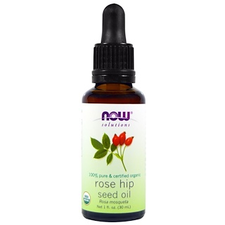 Now Foods, Solutions, Certified Organic Rose Hip Seed Oil, 1 fl oz (30 ml)