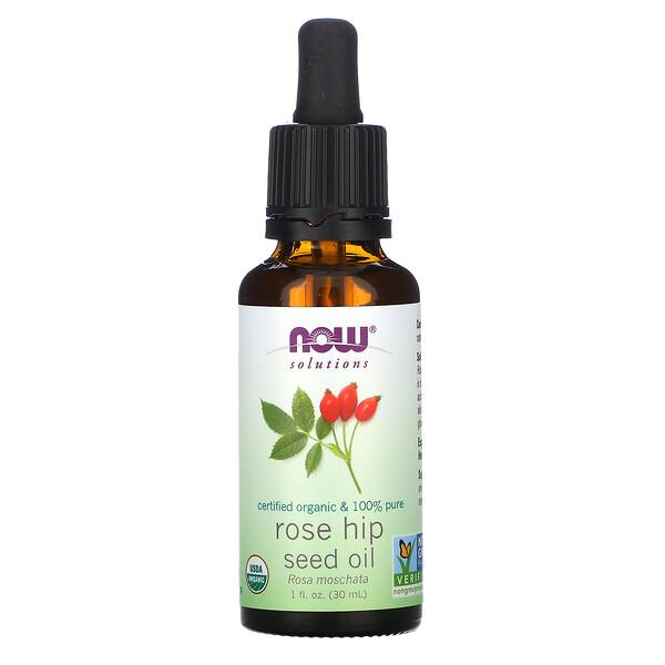 Now Foods, Solutions,Aceite de Semilla de Rosa Mosqueta Orgánico Certificado, 1 fl oz (30 ml)