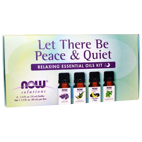 Now Foods, Let There Be Peace & Quiet(安らぎと静けさに包まれる), リラックスできるエッセンシャルオイルキット, ボトル4本, 各1/3 fl oz (10 ml)