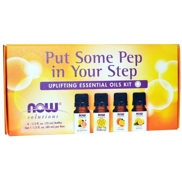 Now Foods, Essential Oils Kit, Put Some Pep in Your Step, Uplifting , 4 Bottles, 1/3 fl oz (10 ml)