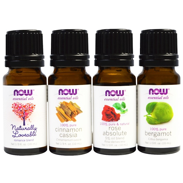 Now Foods, Solutions, Love At First Scent, Romantic Essential Oils Kit, 4 Bottles, 1/3 fl oz (10 ml) Each (Discontinued Item)