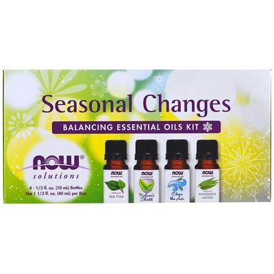 Купить Now Foods Набор эфирных масел для гармонизации сезонных изменений, 4 бутылки, 1/3 жидкой унции (10 мл) каждая.