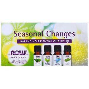 Now Foods, Seasonal Changes, Balancing Essential Oils Kit, 4 Bottles, 1/3 fl oz. (10 ml) Each отзывы