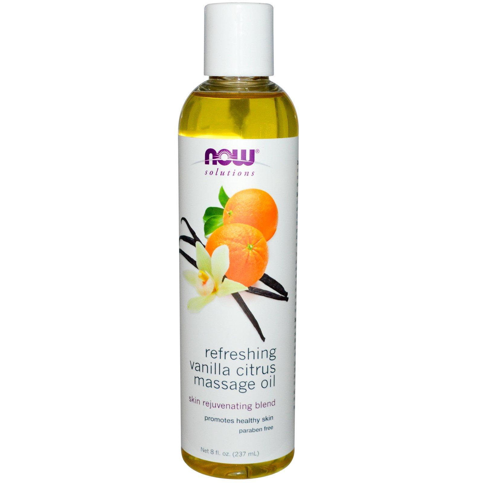 Now Foods, Solutions, Освежающее массажное масло с ванилью и цитрусами, 8 жидких унций (237 мл) ml)