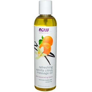 Now Foods, Solutions, Refreshing Vanilla Citrus Massage Oil, 8 fl oz (237 ml)