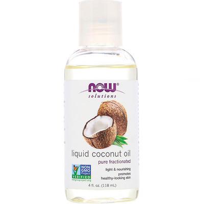 Купить Now Foods Solutions, жидкое кокосовое масло, без примесей, фракционированное, 118мл (4 жидк.унции)