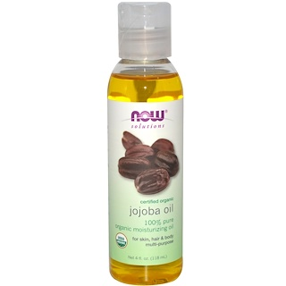 Now Foods, Solutions, Aceite de Jojoba, Orgánico Certificado,4 fl oz (118 ml)