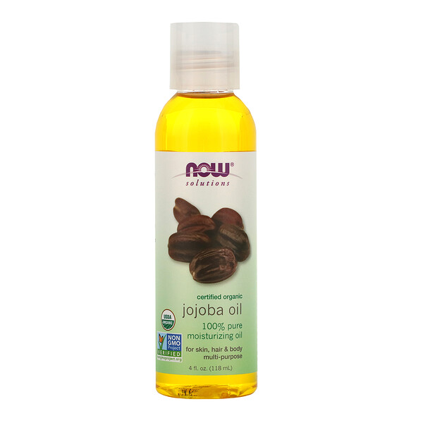 Now Foods, Solutions, Certified Organic, Jojoba Oil, 4 fl oz (118 ml)