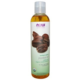 Now Foods, Solutions, Certified Organic, Jojoba Oil, 8 fl oz (237 ml)