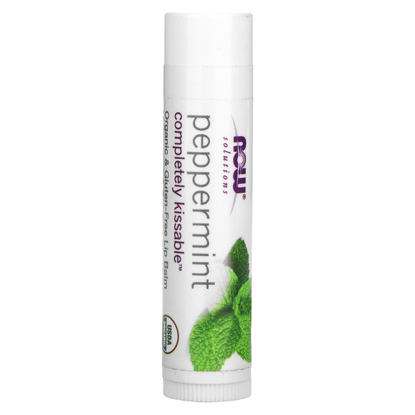 Now Foods, Solutions, Completely Kissable Lip Balm, Peppermint, 0.15 oz (4.25 g)