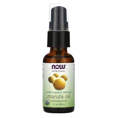 Купить Now Foods Solutions, Certified Organic & 100% Pure Marula Oil, 1 fl oz (30 ml)