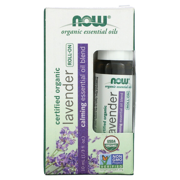 Now Foods, Certified Organic Lavender Roll-On, 1/3 fl oz (10 ml)