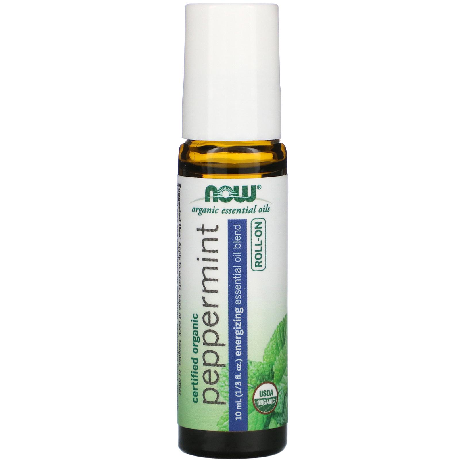 Now Foods Certified Organic Peppermint Roll On 1 3 Fl Oz 10 Ml Iherb