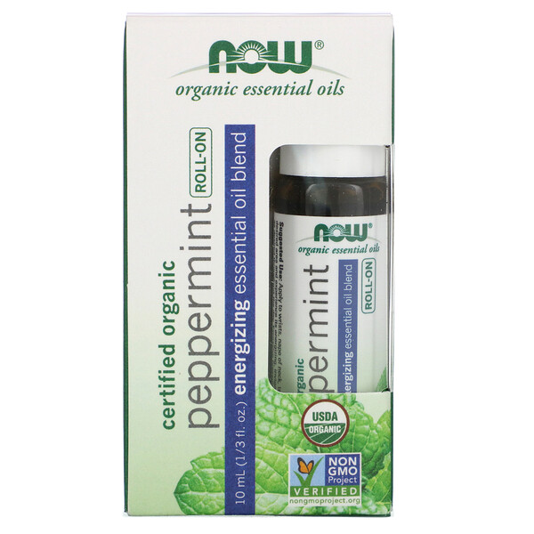 Certified Organic Peppermint Roll-On, 1/3 fl oz (10 ml)