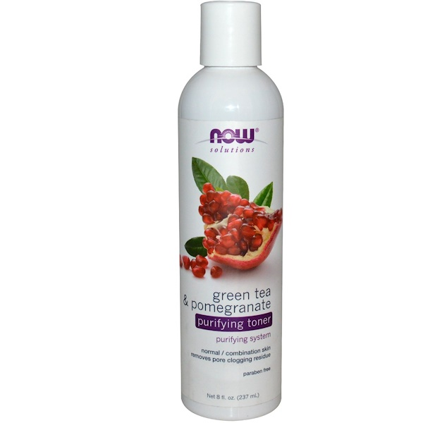 Now Foods, Solutions, Purifying Toner, Green Tea & Pomegranate, 8 fl oz (237 ml) (Discontinued Item)