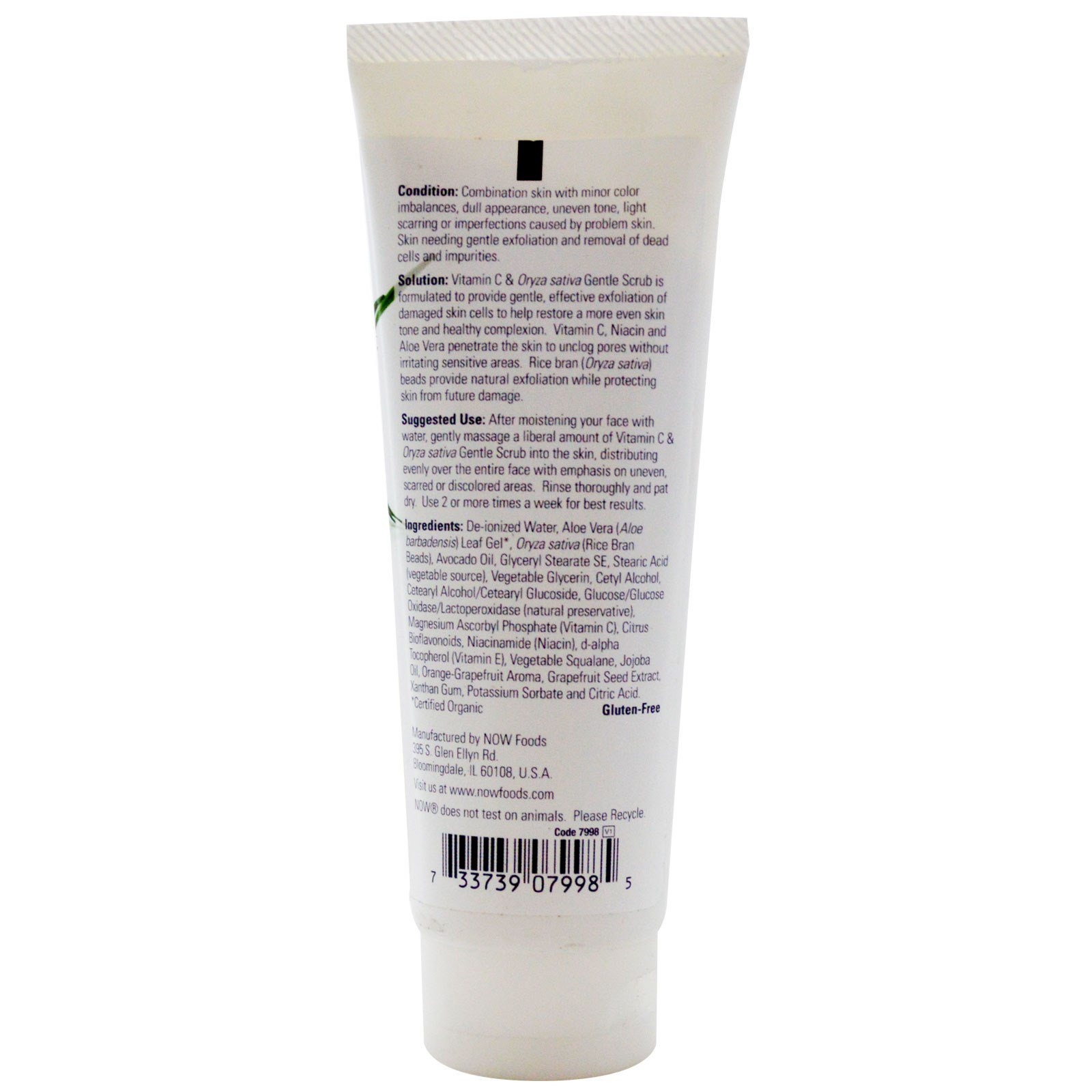 Now Foods Vitamin C & Oryza Sativa Gentle Scrub 4 oz, Pack of 2 HydroPeptide Purifying Facial Mask, 1 fl. oz.