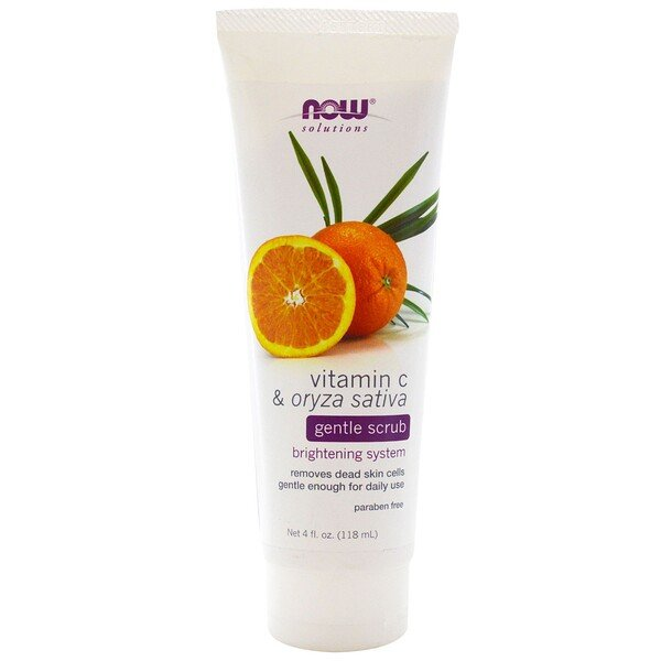 Now Foods, Solutions, Gentle Scrub, Vitamin C & Oryza Sativa, 4 fl oz (118 ml)