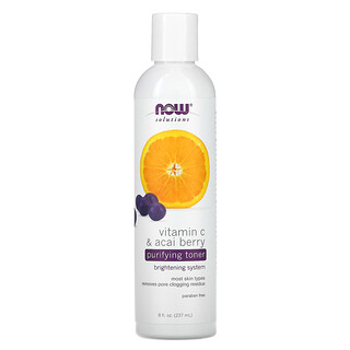 Now Foods, Solutions, Purifying Toner, Vitamin C & Acai Berry, 8 fl oz (237 ml)