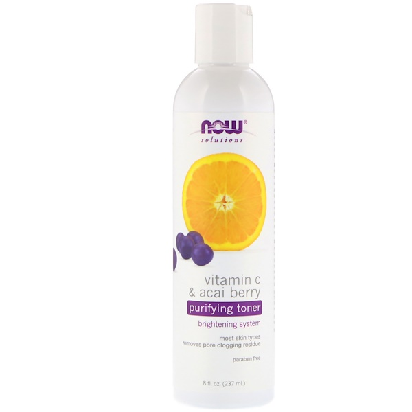 Now Foods, Solutions, Tonique purifiant, Vitamine C et baie d'açaï, 237 ml