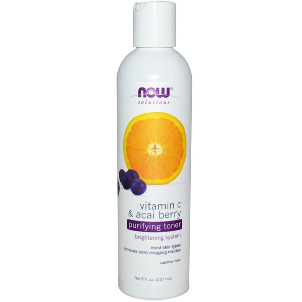 Now Foods, Solutions, Purifying Toner, Vitamin C & Acai Berry, 8 fl oz (237 ml)