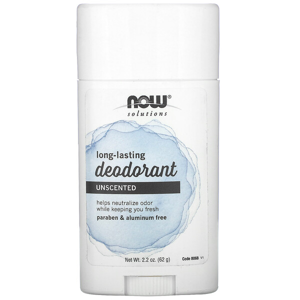 Now Foods, Solutions, Long Lasting Deodorant, Unscented, 2.2 oz (62 g) (Discontinued Item)