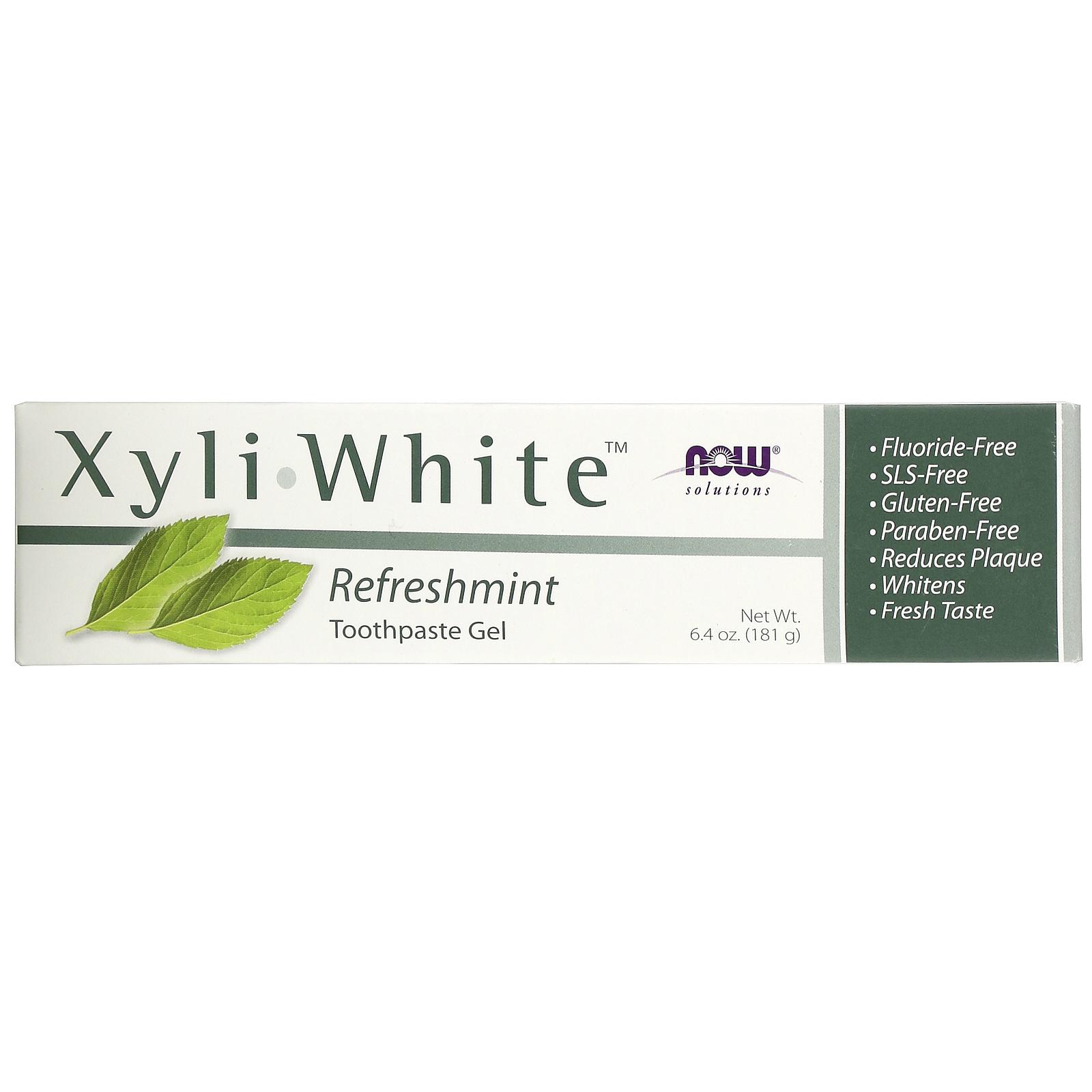 Now Foods, جل الأسنان Xyli-White، Solutions، خالِ من الفلورايد، بالنعناع المنعش، 6.4 أونصة (181 جم)
