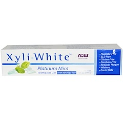 Now Foods, ソリューション、XyliWhite™(キシリ・ホワイト)、重曹入り歯磨きジェル、フッ素不使用、プラチナミント、6.4オンス(181 g)