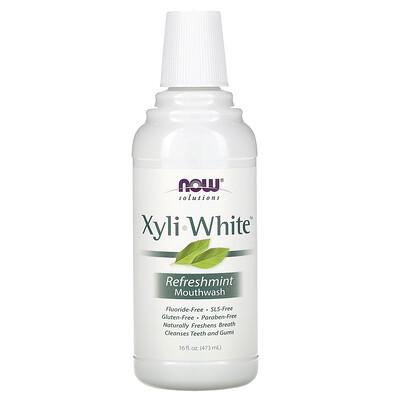 Купить Now Foods натуральная жидкость для полоскания рта с ксилитолом без фтора с ароматом освежающей мяты, 16 жидких унций (473 мл)