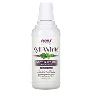 Now Foods, Solutions, Xyli-White Mouthwash, Fluoride-Free, Neem & Tea Tree with Mint Flavor, 16 fl oz (473ml) отзывы покупателей