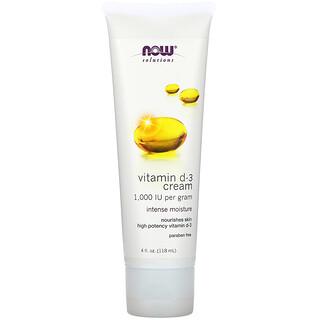 Now Foods, Vitamin D-3 Cream, 1,000 IU, 4 fl oz (118 ml)