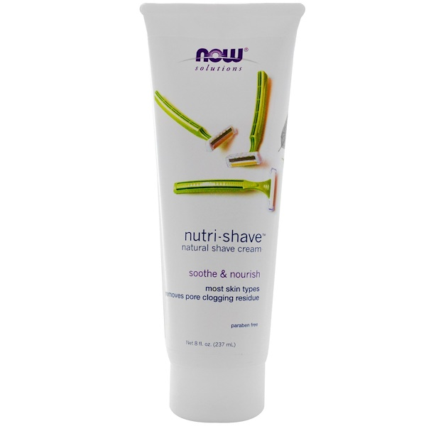 Now Foods, Solutions, Nutri-Shave, Crema de Afeitar Natural, 8 fl oz (237 ml)