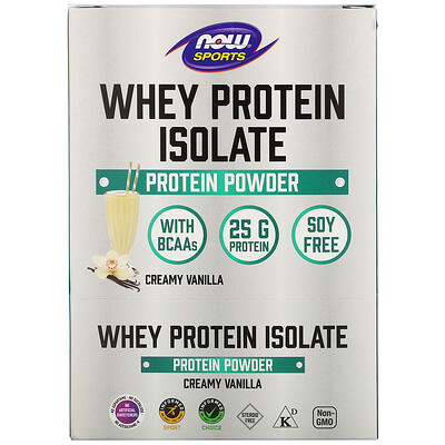 Now Foods Sports, Whey Protein Isolate, Creamy Vanilla, 8 Packets, 1.13 oz (32 g) Each