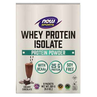 Now Foods Sports, Whey Protein Isolate, Creamy Chocolate, 8 Packets, 1.16 oz (33 g) Each