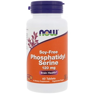 Now Foods, Phosphatidylserin, Sojafrei, 120 mg, 60 Tabletten