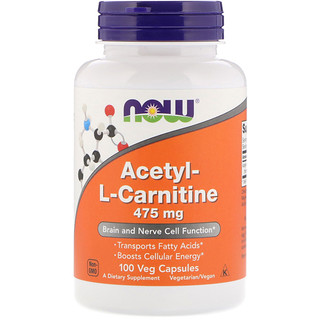Now Foods, Ацетилкарнитин, 475 мг, 100 вегетарианских капсул